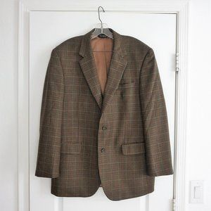 Jos Bank Wool Checked Sport Coat Brown Olive Navy